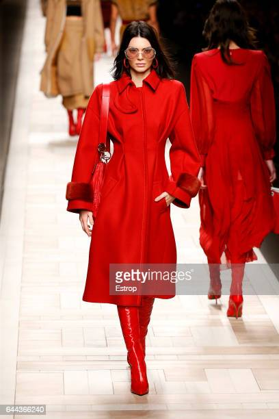 Model Kendall Jenner walks the runway at the Fendi designed by Silvia Venturini Fendi Karl Lagerfeld show during Milan Fashion Week Fall/Winter...