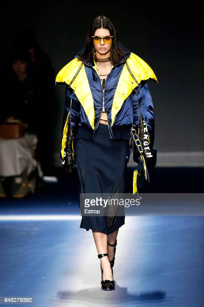 Model Kendall Jenner walks the runway at the Versace show during Milan Fashion Week Fall/Winter 2017/18 on February 24 2017 in Milan Italy