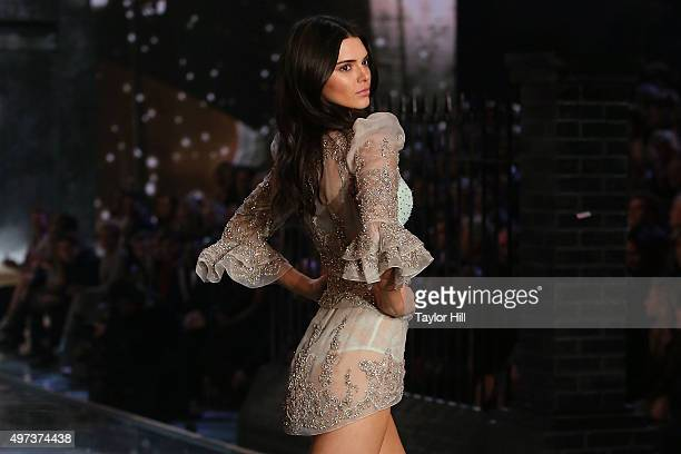 Model Kendall Jenner walks the runway during the 2015 Victoria's Secret Fashion Show at Lexington Avenue Armory on November 10 2015 in New York City