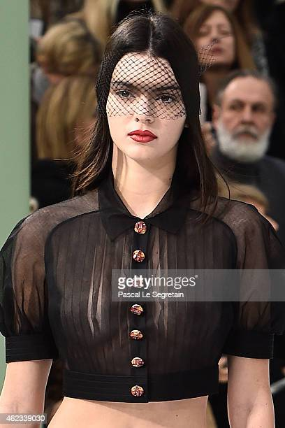 Model Kendall Jenner walks the runway during the Chanel show as part of Paris Fashion Week Haute Couture Spring/Summer 2015 on January 27 2015 in...