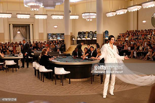 Model Kendall Jenner walks the runway during the Chanel show as part of Paris Fashion Week Haute Couture Fall/Winter 2015/2016 Held at Grand Palais...