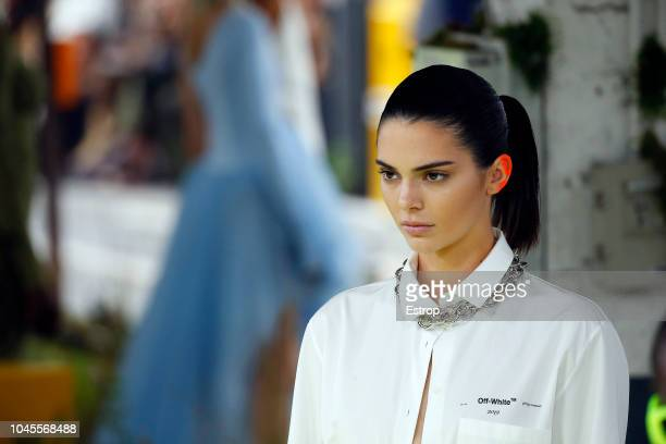 Model Kendall Jenner walks the runway during the OffWhite show as part of the Paris Fashion Week Womenswear Spring/Summer 2019 on September 27 2018...