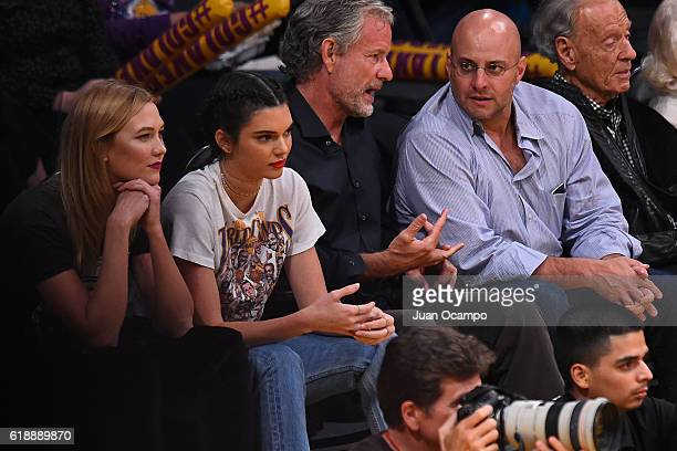 Model Kendall Jenner watches the Houston Rockets game against the Los Angeles Lakers on October 26 2016 at Staples Centers in Los Angeles California...