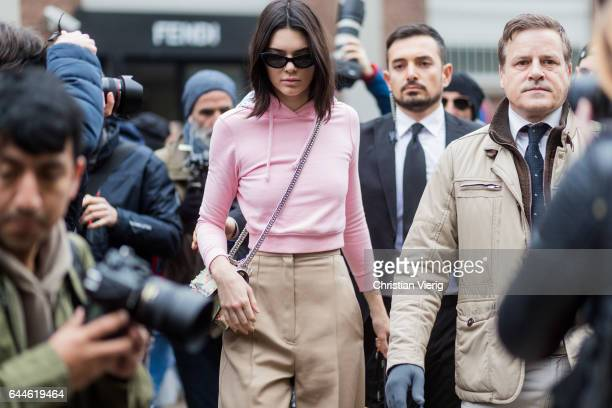 Model Kendall Jenner wearing a pink hoody outside Fendi during Milan Fashion Week Fall/Winter 2017/18 on February 23 2017 in Milan Italy