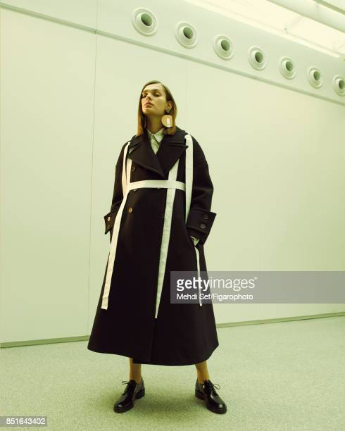 Model Kersti Pohlak poses at a fashion shoot for Madame Figaro on July 22 2017 in Paris France Coat shirt earrings shoes PUBLISHED IMAGE CREDIT MUST...