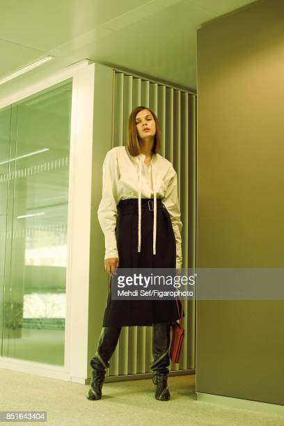 Model poses at a fashion shoot for Madame Figaro on July 22 2017 in Paris France Dress belt boots and bag earrings PUBLISHED IMAGE CREDIT MUST READ...