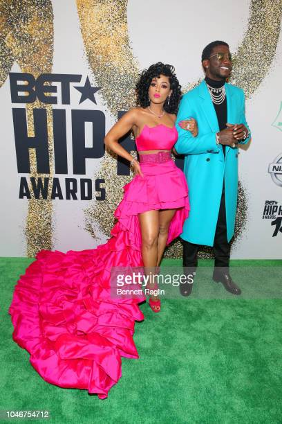 Model Keyshia Ka'Oir and Rapper Gucci Mane arrives at the BET Hip Hop Awards 2018 at Fillmore Miami Beach on October 6 2018 in Miami Beach Florida