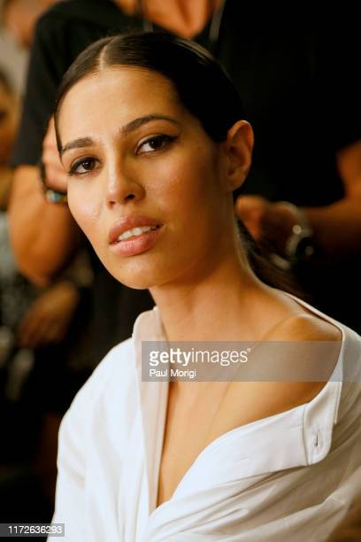 Model Keyshla Maysonet prepares backstage for Afffair S/S20 during New York Fashion Week: The Shows at Gallery II at Spring Studios on September 05,...