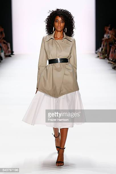 Model Keziah Marie walks the runway at the Dimitri show during the MercedesBenz Fashion Week Berlin Spring/Summer 2017 at Erika Hess Eisstadion on...