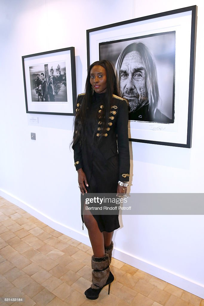 Model Khadija Neumann attends Iggy Pop 'Post Depression' Art Pictures Exhibition at French Paper Gallery on May 14, 2016 in Paris, France.