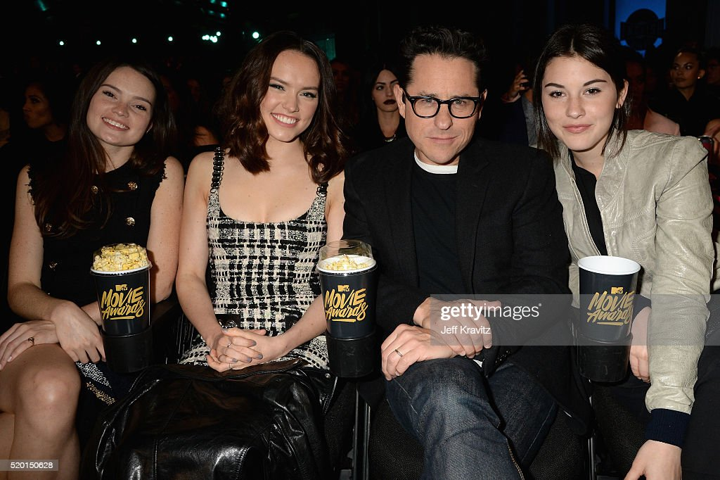 Model Kika-Rose Ridley, actress Daisy Ridley, director J.J. Abrams and Gracie Abrams attend the 2016 MTV Movie Awards at Warner Bros. Studios on April 9, 2016 in Burbank, California. MTV Movie Awards airs April 10, 2016 at 8pm ET/PT.