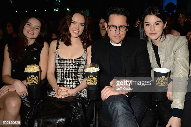 Model KikaRose Ridley actress Daisy Ridley director JJ Abrams and Gracie Abrams attend the 2016 MTV Movie Awards at Warner Bros Studios on April 9...