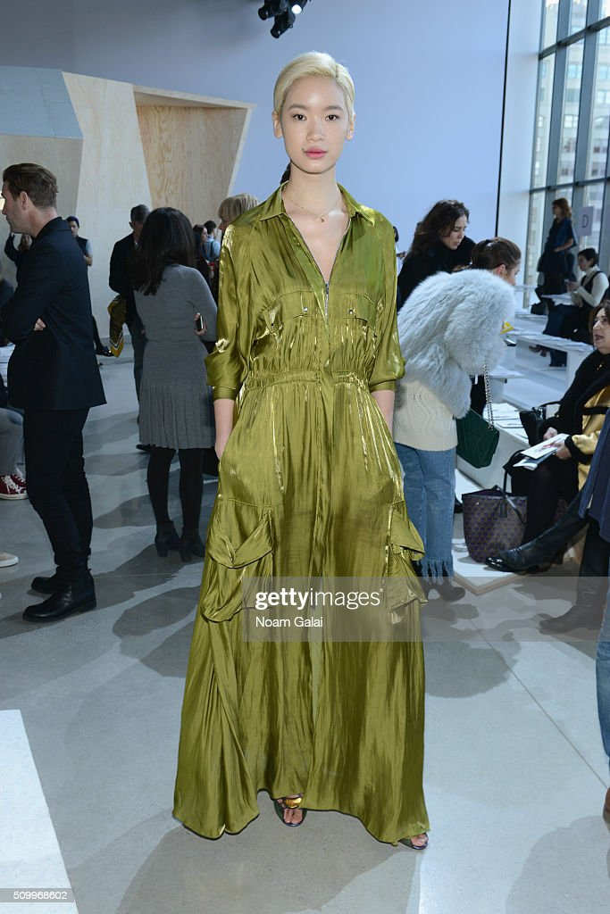 Model, Kiki Kang, attends the Lacoste Fall 2016 fashion show during New York Fashion Week at Spring Studios on February 13, 2016 in New York City.