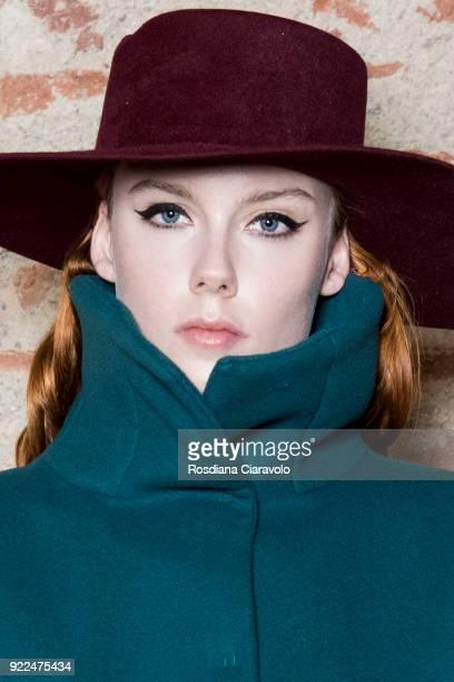 Model Kiki Willems is seen backstage ahead of the Alberta Ferretti show during Milan Fashion Week Fall/Winter 2018/19 on February 21 2018 in Milan...
