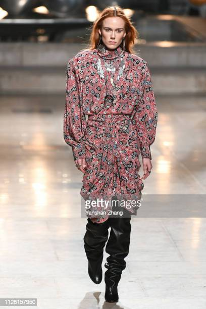 Model Kiki Willems walks the runway during the Isabel Marant show as part of the Paris Fashion Week Womenswear Fall/Winter 2019/2020 on February 28...