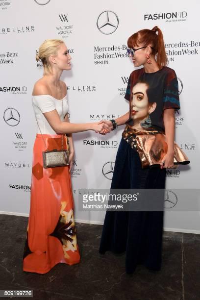 Model Kim Hnizdo and Sussan Zeck attend the Rebekka Ruetz show during the MercedesBenz Fashion Week Berlin Spring/Summer 2018 at Kaufhaus Jandorf on...