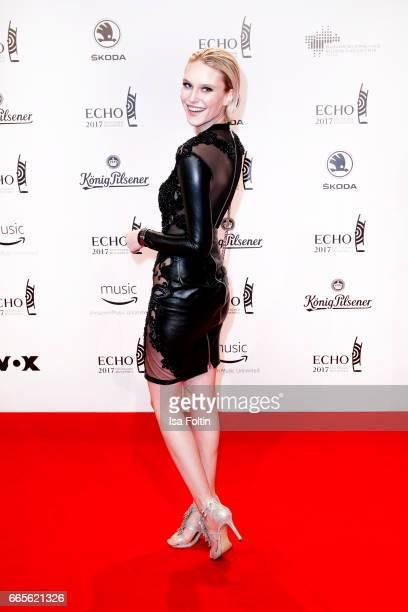Model Kim Hnizdo during the Echo award red carpet on April 6 2017 in Berlin Germany