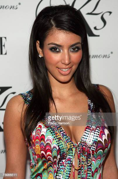 Model Kim Kardashian arrives at Kimora Lee Simmons Debuts KLS Collection paty at the Hollywood Social on March 23 2006 in Hollywood California