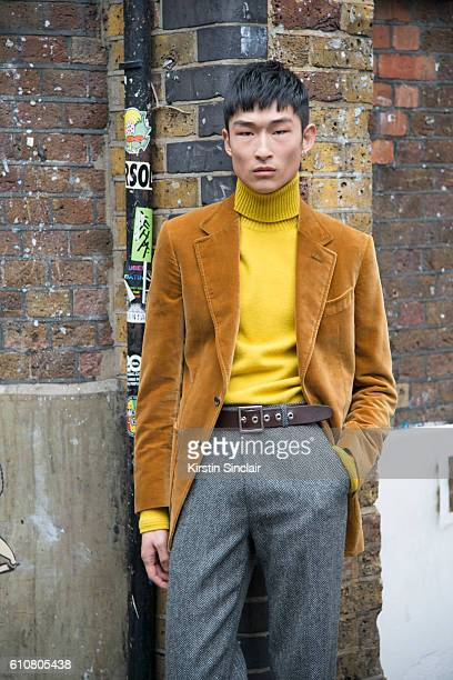 Model Kim Sang Woo wears all House of Holland on day 5 of London Womens Fashion Week Spring/Summer 2016 on September 20 2016 in London England