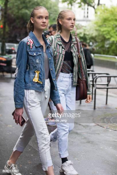 Model Kirin Dejonckheere after the Proenza Schouler show on July 2 2017 in Paris France