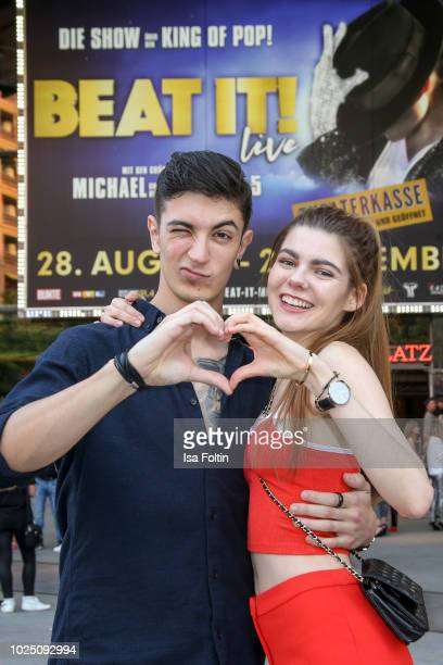 Model Klaudia Giez and her boyfriend Felipe Simon during the musical premiere of 'BEAT IT Die Show ueber den King of Pop' at Stage Theater am...