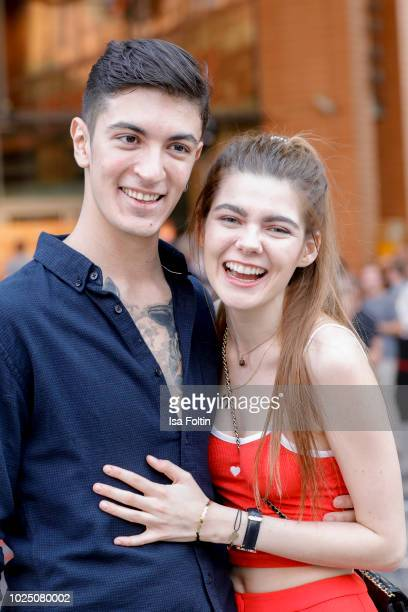 Model Klaudia Giez GNTM and her boyfriend Felipe Simon during the musical premiere of 'BEAT IT Die Show ueber den King of Pop' at Stage Theater am...