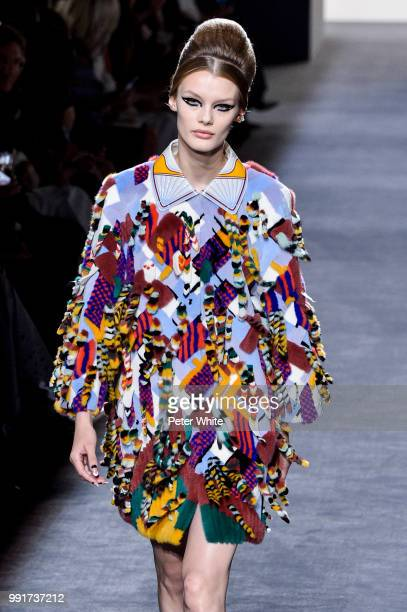 Model Kris Grikaite walks the runway during the Fendi Couture Haute Couture Fall Winter 2018/2019 show as part of Paris Fashion Week on July 4 2018...