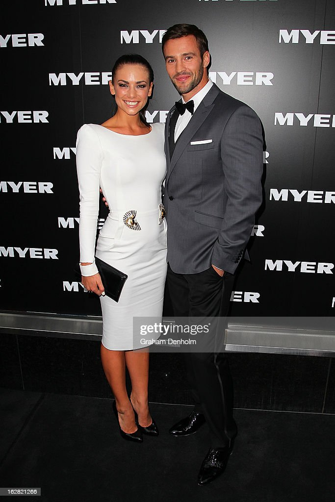 Model Kris Smith (R) and Maddy King arrive at the Myer Autumn/Winter 2013 collections launch at Mural Hall at Myer on February 28, 2013 in Melbourne, Australia.