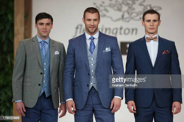 Model Kris Smith showcases designs on the runway by Dom Bagnato during the Myer Spring Fashion Lunch at Flemington Racecourse on September 5, 2013 in...