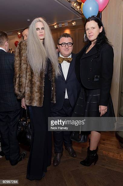 Model Kristen McMenamy designer Alber Elbaz and stylist Katie Grand attend the Lanvin Party to celebrate the release of Mika's EP 'Songs Of Sorrow'...