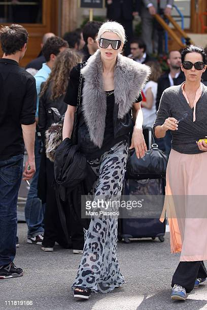 Model Kristen McMenamy during the last day of Karl Lagerfeld's Chanel shooting 'le conte d'une fee' at Monte Carlo on April 7 2011 in Monaco Monaco