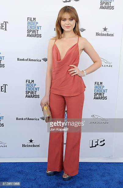 Model Kristina Bazan arrives at the 2016 Film Independent Spirit Awards on February 27 2016 in Los Angeles California