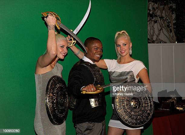 Model Kristina Shannon actor Sam Jones III and model Karissa Shannon attend the launch of the Prince of Persia video game presented by Ubisoft and...