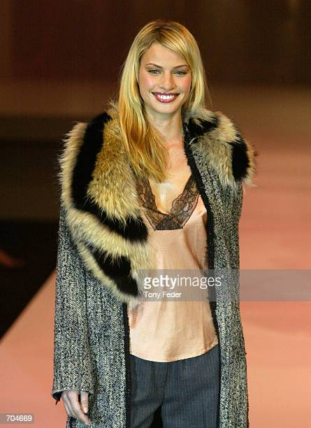 Model Kristy Hinze shows off an outfit by designer Scanlon and Theodore at the Melbourne Fashion Festival March 18 2002 in Melbourne Australia