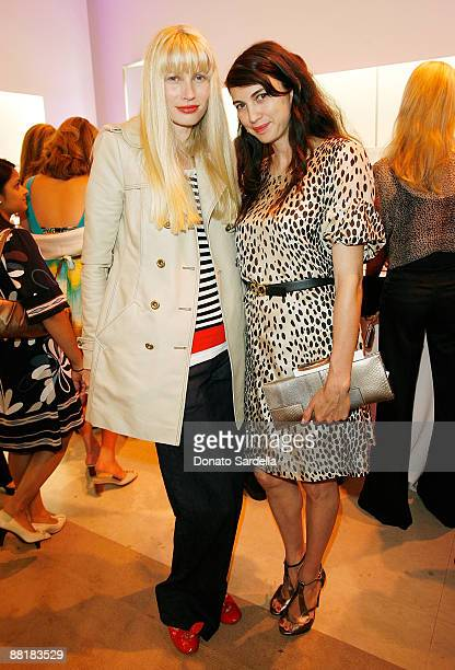 Model Kristy Hume and actress Shiva Rose attend the Ferragamo event with Debi Mazar and Adrian Grenier to benefit the L'Aquila earthquake victims at...