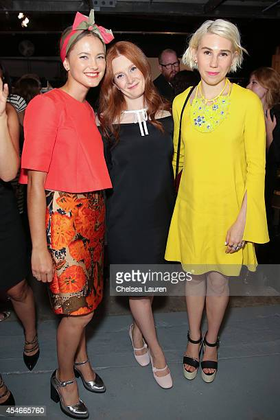 Model Kyleigh Kuhn designer Giovanna Randall and actress Zosia Mamet are seen backstage at the HONOR fashion show at Art Beam on September 4 2014 in...