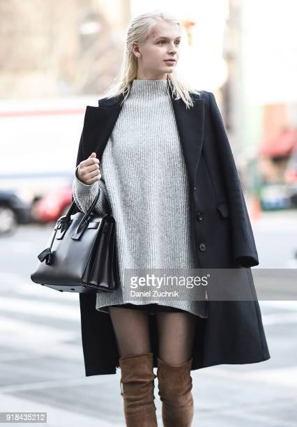 Model Kylie Vonnahme is seen wearing a Zara jacket and sweater and a Saint Laurent bag outside the Esteban Cortazar show during New York Fashion Week...