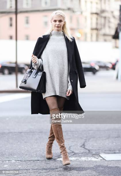Model Kylie Vonnahme is seen wearing Zara jacket and sweater Stuart Weitzman boots and a Saint Laurent bag outside the Esteban Cortazar show during...