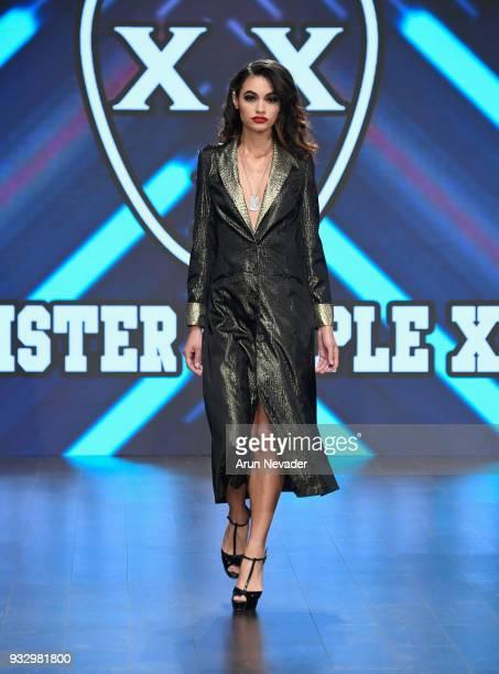 Model Lais Felisardo walks the runway wearing Mister Triple X at Los Angeles Fashion Week Powered by Art Hearts Fashion LAFW FW/18 10th Season...
