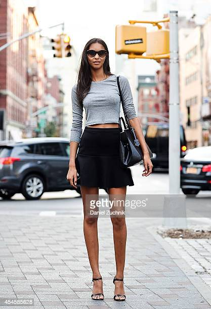 Model Lais Ribeiro is seen around Soho wearing a Topshop top Mango skirt Louis Vuitton bag Ralph Lauren sunglasses and Prada shoes on September 3...