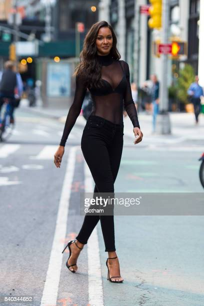 Model Lais Ribeiro is seen going to fittings for the 2017 Victoria's Secret Fashion Show in Midtown on August 28 2017 in New York City