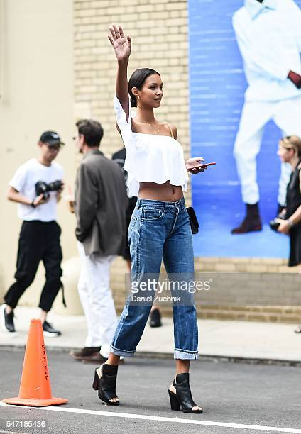 Model Lais Ribeiro is seen outside the Rochambeau show during New York Fashion Week Men's S/S 2017 Day 3 on July 13 2016 in New York City