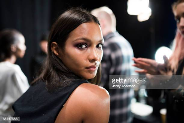 Model Lais Ribeiro prepares backstage during the La Perla show during New York Fashion Week at SIR Stage 37 on February 9 2017 in New York City