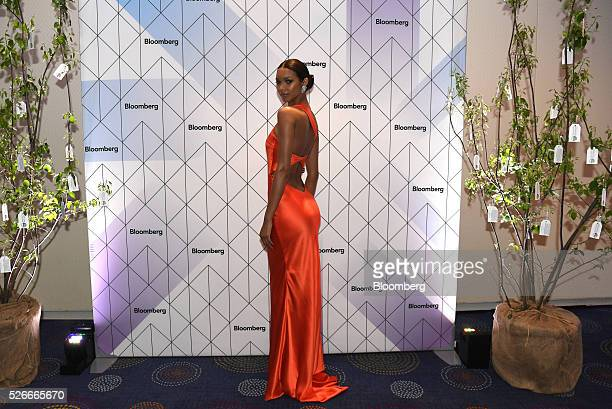 Model Lais Ribeiro stands for a photograph during the Bloomberg cocktail party before the White House Correspondents' Association Dinner in...