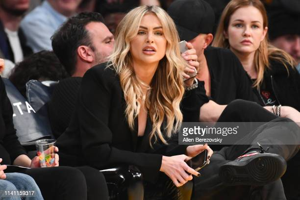 Model Lala Kent attends a basketball game between the Los Angeles Lakers and the Utah Jazz at Staples Center on April 07 2019 in Los Angeles...