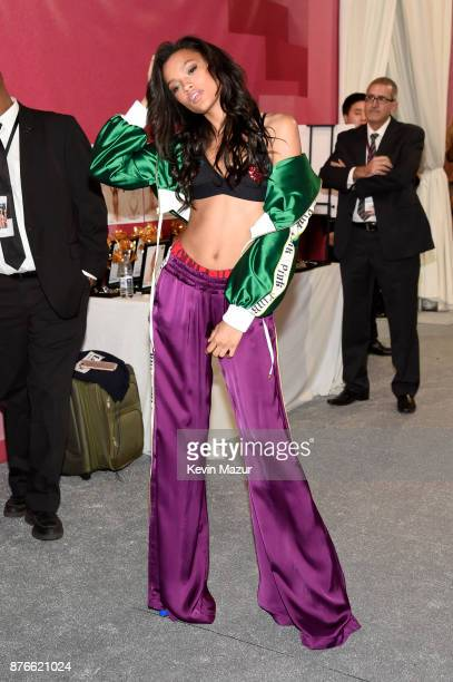 Model Lameka Fox poses backstage during 2017 Victoria's Secret Fashion Show In Shanghai at MercedesBenz Arena on November 20 2017 in Shanghai China