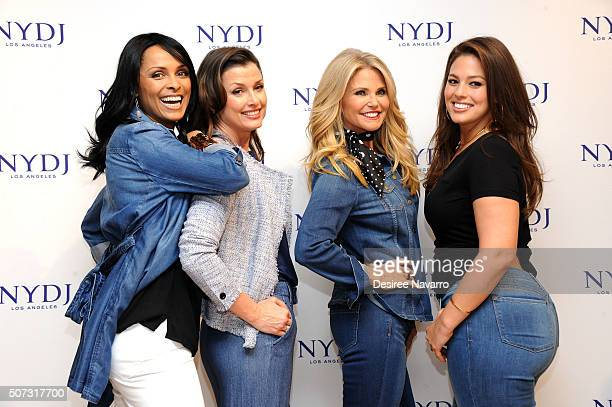 Model Lana Ogilvie actress Bridget Moynahan model Christie Brinkley and model Ashley Graham attend NYDJ 2016 Fit To Be Campaign Launch at Lord Taylor...