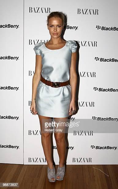 Model Lara Bingle attends the Harper's BAZAAR BlackBerry White Bold Party as part of Rosemount Australian Fashion Week Spring/Summer 2010/11 at Beach...