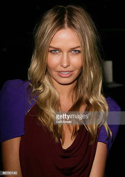 Model Lara Bingle poses near her front row position for the Camilla and Marc Catwalk show at the Overseas Passenger Terminal, Circular Quay on day...