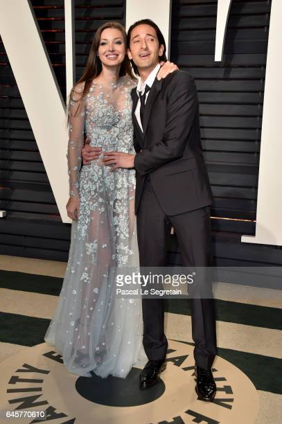 Model Lara Lieto and actor Adrien Brody attend the 2017 Vanity Fair Oscar Party hosted by Graydon Carter at Wallis Annenberg Center for the...
